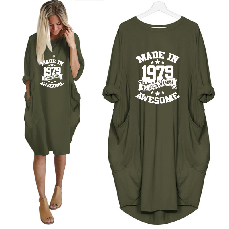 Made In 1979 40 Years Print Dress Female Harajuku Off Shoulder Wife Birthday Gift Long Sleeve Vintage Dress Women Hollow Femme