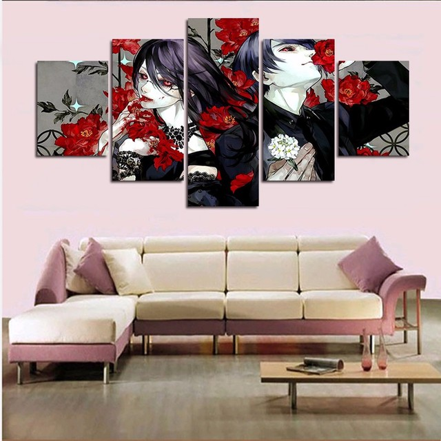 Anime Wall Art aliexpress : buy modular painting 5 panel horror anime wall