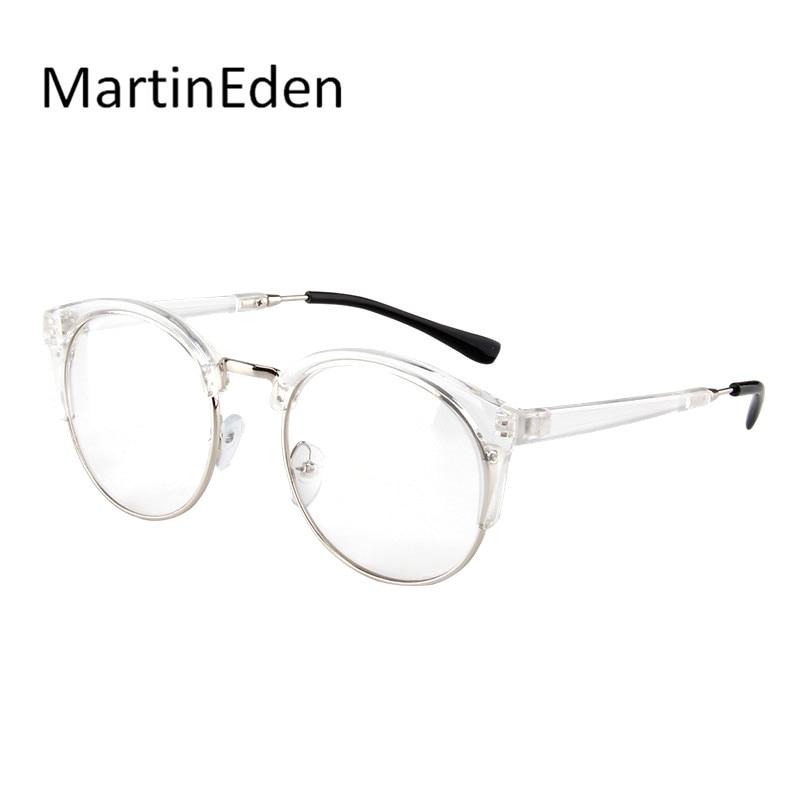 Transparente marco de los vidrios mujeres hombres ronda lentes ...