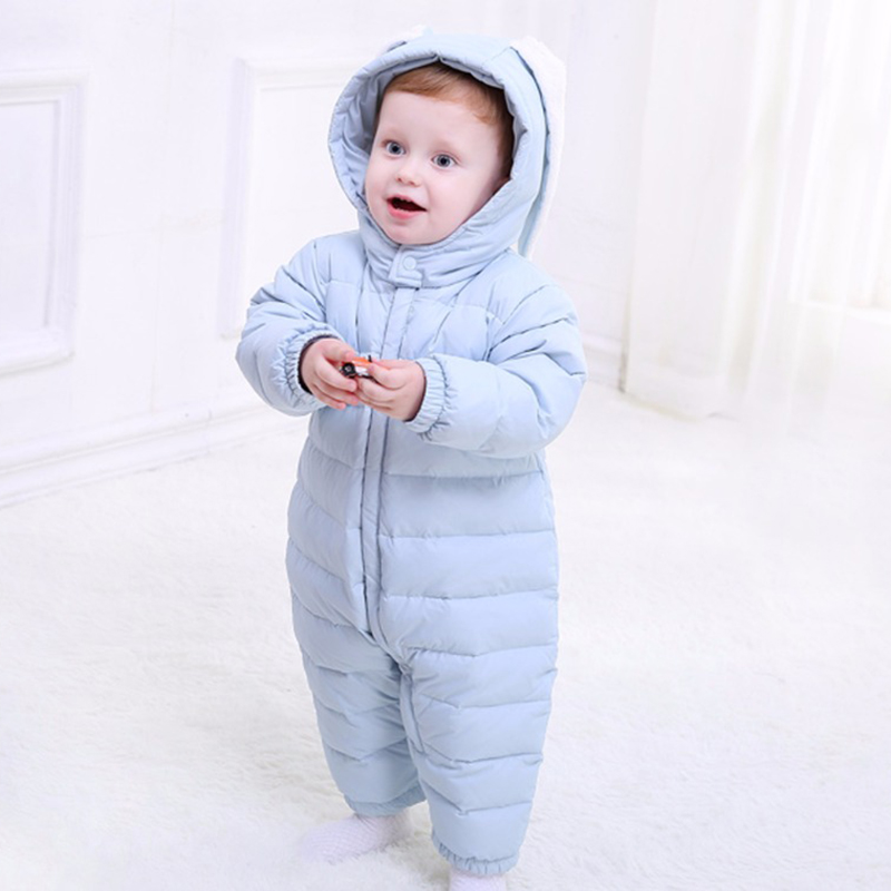 Newborn Baby Boys Girls Winter Snow Children Clothes Coveralls Feather Warm Conjoined Climbing Clothing Collar Jumpsuit Romper 2016 winter new soft bottom solid color baby shoes for little boys and girls plus velvet warm baby toddler shoes free shipping