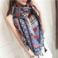 Новый 190*110 СМ Мода Хлопок Шарф Этническом Стиле Шарф Высокое Качество Печатных Плетеные кисточки Шарфы Платки для Женщин