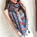 New 190*110CM Fashion Cotton Scarf Ethnic Style Scarf High Quality Printed Braided tassels Shawls Scarves for Women
