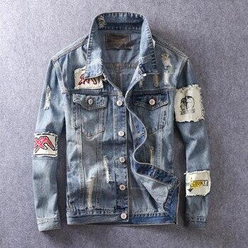 American Streetwear Fashion Men Jacket Blue Color Retro Washed Patchwork Hip Hop Jacket Men Destroyed Ripped Denim Jacket hombre bleach wash extreme destroyed denim jacket