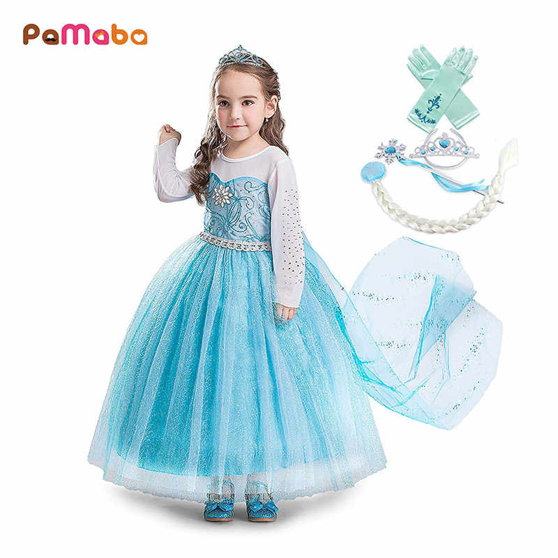 30e93cc91f PaMaBa Kids Party Princess Elsa Dress Girls Summer Clothes Frocks Halloween  Sofia the First Elena Mermaid