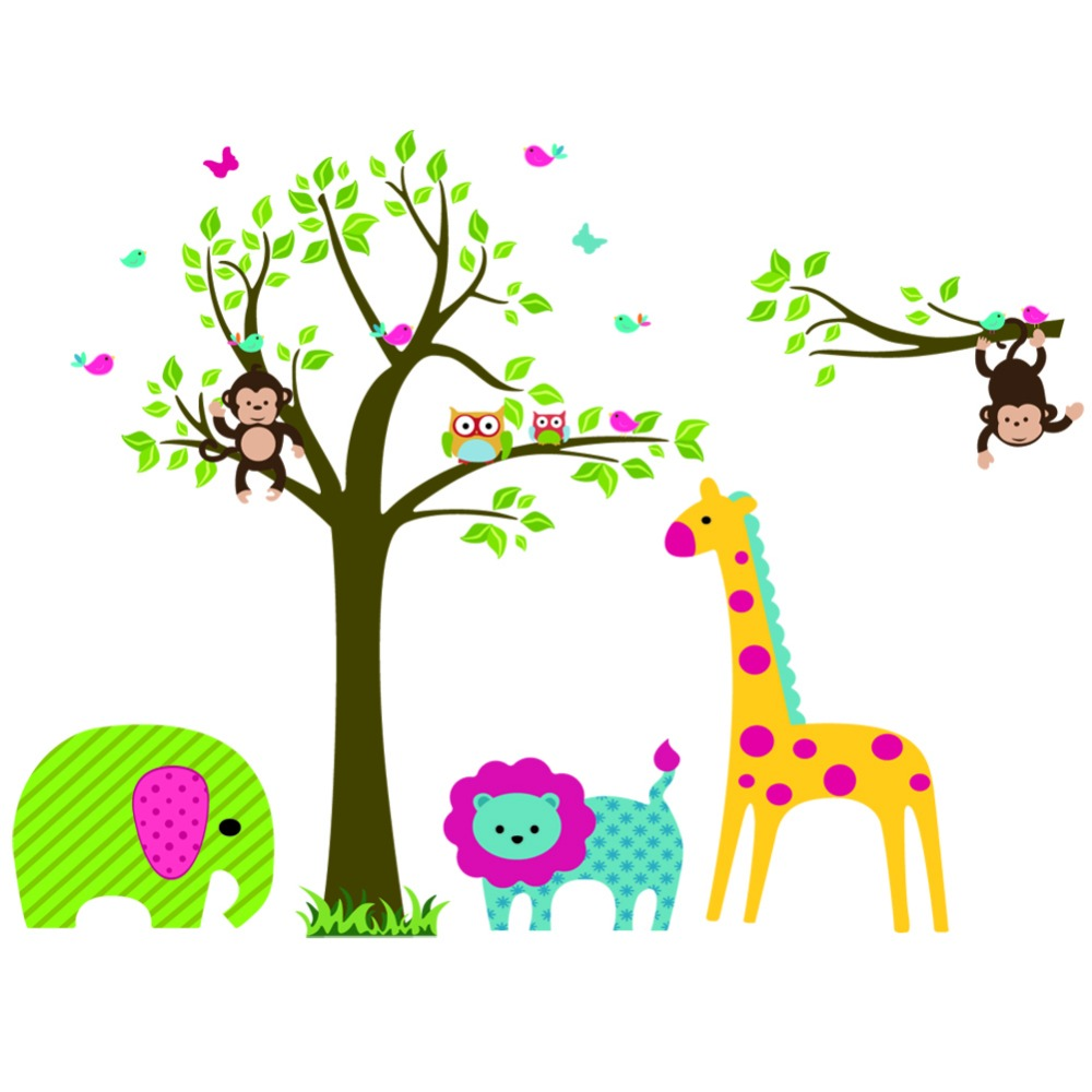Zoo Giraffe Elephant Monkey Owl Lion Wall Decal Stickers Wallpaper Mural Nursery Kids Children Room Home Decoration