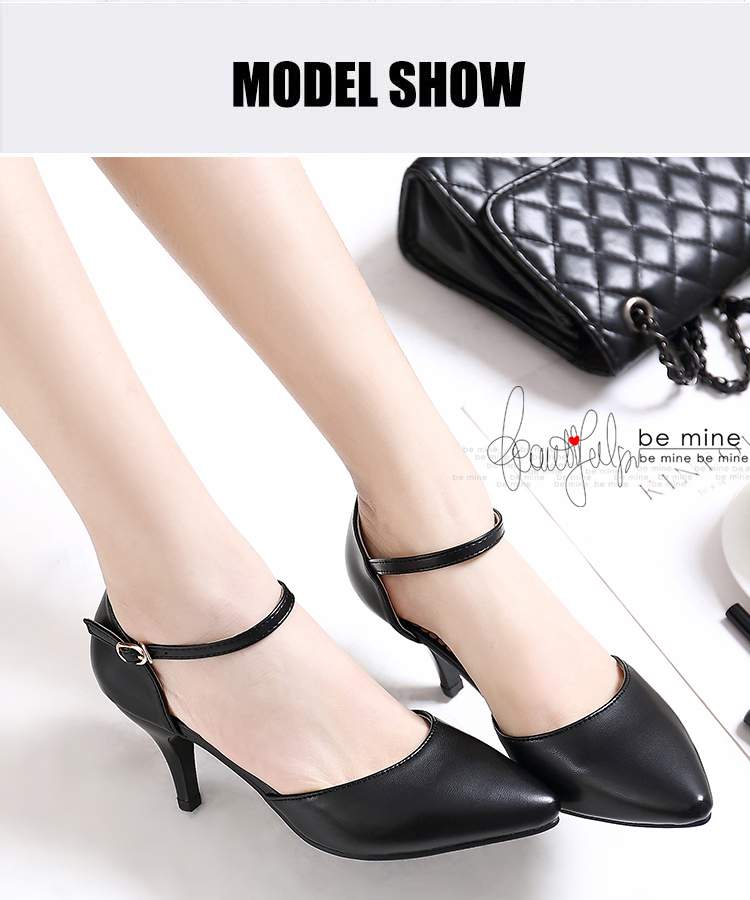 YALNN Spring Summer Basic Women Pumps Shoes Shallow Buckle Strap Thin Heels Pointed Toe for Leisure Office Career Shoes Women 2
