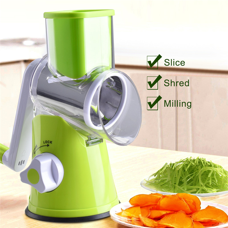 TTLIFE Mandoline Slicer Gemüse Chopper Kartoffel Karotte Cutter Käse Reibe mit 3 Runde Edelstahl Klingen Küche Werkzeuge