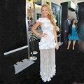 Блейк Лайвли Белый Jewel Аппликация Цветок Sheer Оболочка Этаж Длина Вечерние Платья