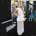 Blake Lively White Jewel Appliqued Flower Sheer Sheath Floor Length Evening Dresses