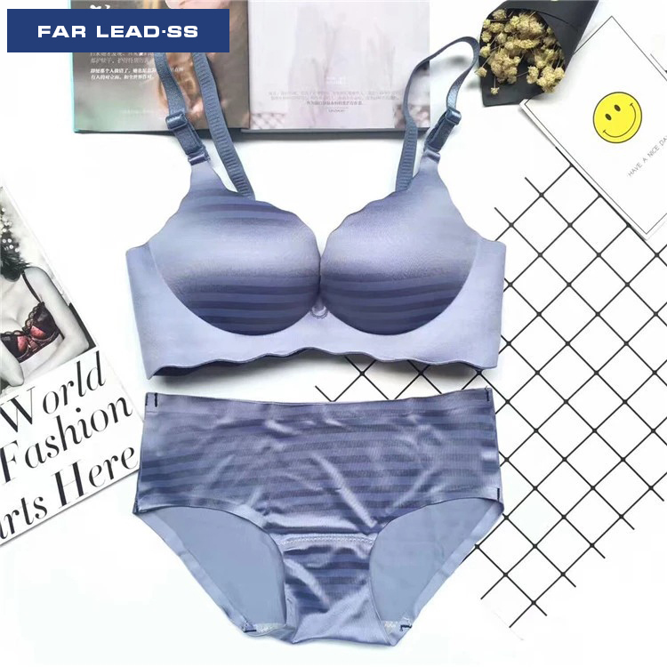FAR LEAD Smooth wire bra set Push up bra sexy lingerie Fashionable stripe women underwear suits Seamless and comfortable bra