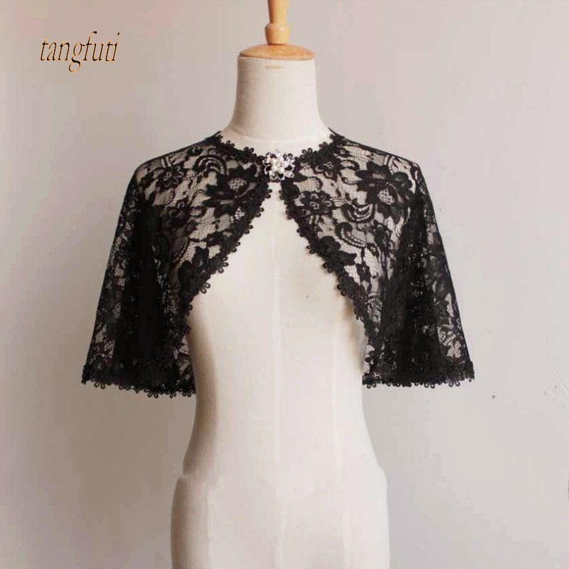 Autumn Thin Lace Wedding Bolero Elegant Short Evening Capes Ivory Black Jacket Women Wrap