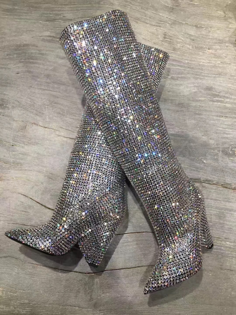 New Design Women Fashion Pointed Toe Bling Bling Over Knee Rhinestone Boots Crystal Long High Heel Boots Luxury Thin Heel Boots new design women fashion pointed toe bling bling over knee rhinestone boots crystal long high heel boots luxury thin heel boots