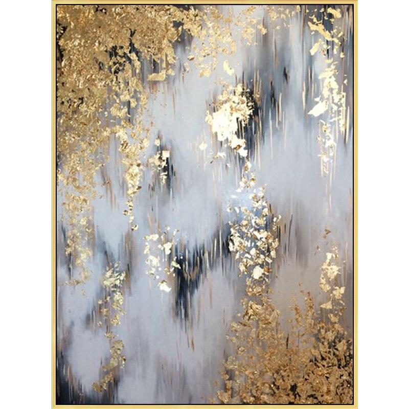 Di grandi dimensioni Pittura A Olio Moderna pittura di arte Astratta oro dipinto a mano della tela di canapa Pittura di arte per la decorazione domestica della parete di arte immagini