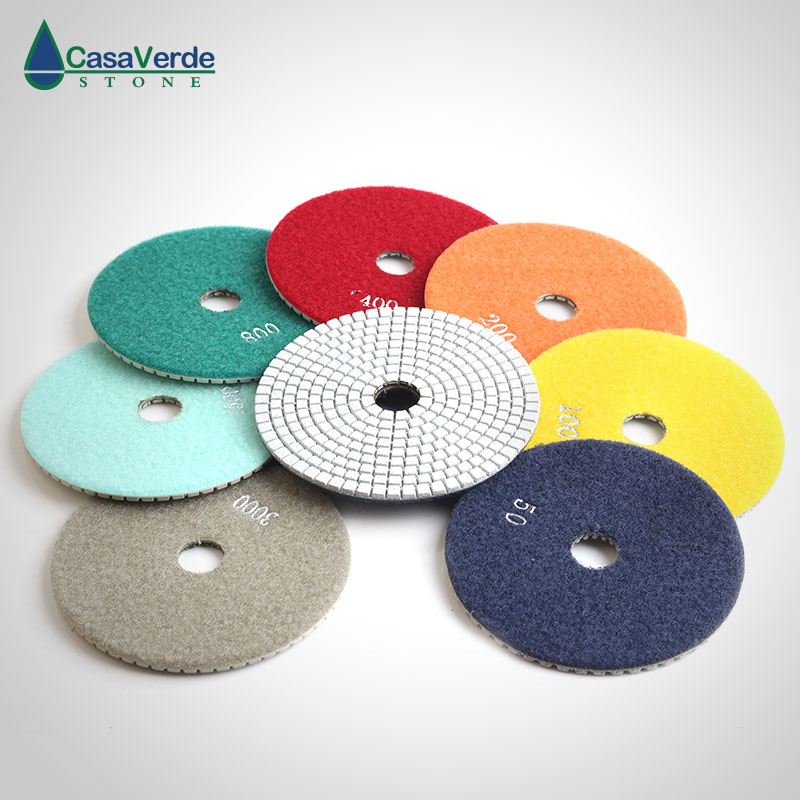 Diamond 5 Inch Polishing Pads 125mm Granite Marble Engineer Stone Dry And Wet Polishing Disc