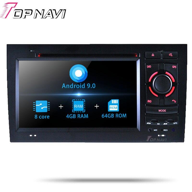 Lecteur stéréo autoradio Topnavi Android 9.0 pour Audi A4 (2002 2003 2004 2005 2006 2007 2008) DVD de voiture multimédia GPS Navigation