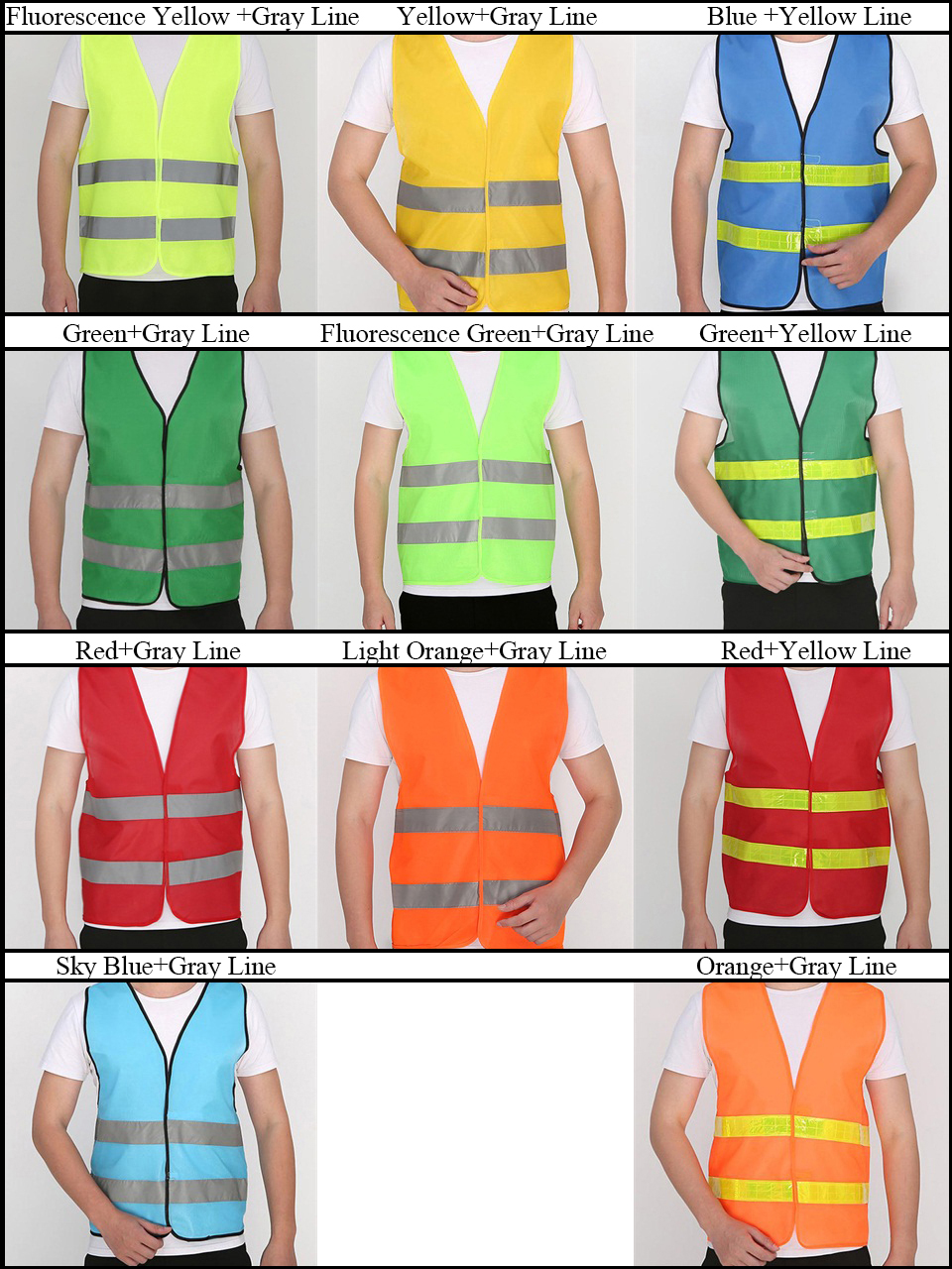 2019 New Hiah Quality Yellow Vest Reflective Safety Workwear Night Warning Working Clothes Fluorescent For Man Women