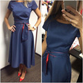 Europe&America Style New Retro Hepburn Turmoil Point Waist Belt With a large Swing Dress Dot Short Sleeve Casual Office Dress