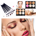 Fashion 6 Colors Face Powder Cream Blusher Concealer Palette + 7pcs Eye Brush Set Eyeliner Eyebrow Makeup Brushes Cosmetic kits
