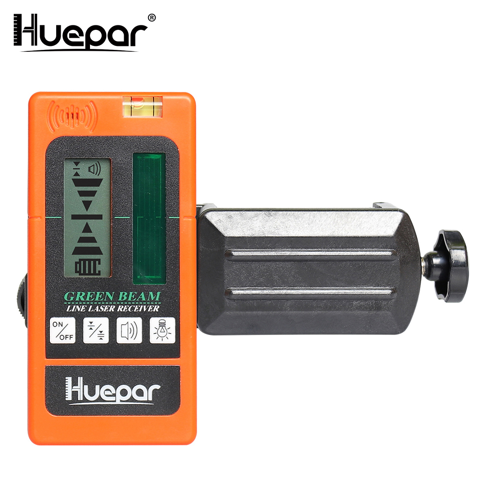 Huepar Digital LCD Laser Receiver Outdoor Mode Laser Detector Available For Pulsing Green Beam Cross Line Laser Level With Clamp