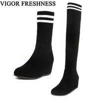 VIGOR FRESHNESS Women Shoes Wedges Heels Boots Elastic Winter Shoes Woman Autumn Knitting Sock Boots Ladies Boots Spring MY31