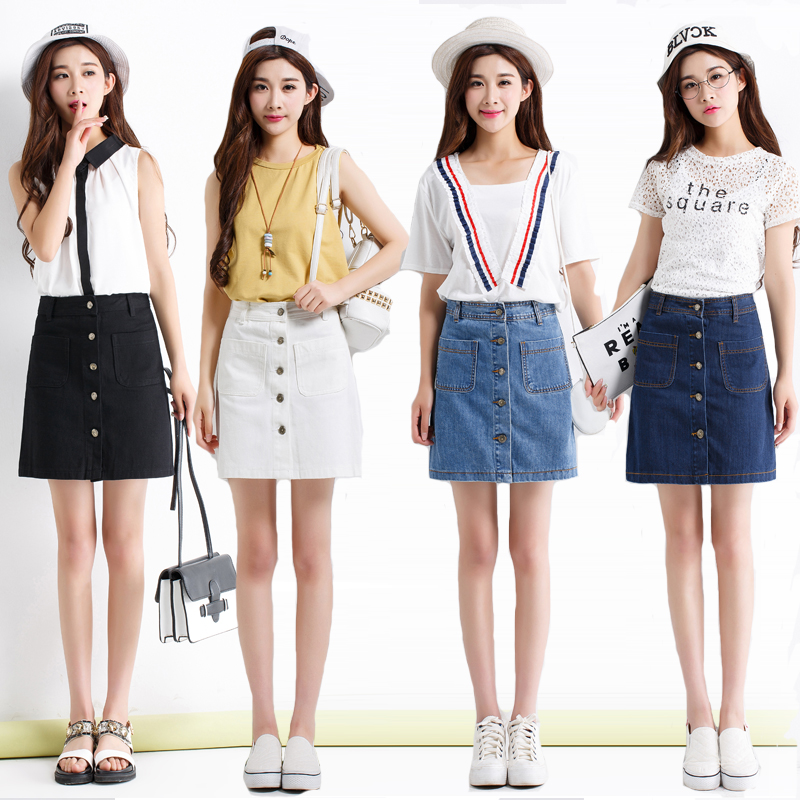 On sale 2019 Summer Korean Mini denim Jeans Skirt slim Waist Skirts Summer Cheap sweet harajuku mini high quality Skirt