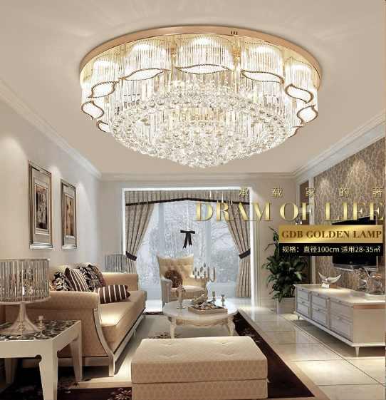 Lampe de salon lampe en cristal lampe de plafond européenne atmosphère LED ronde lampe de salle atmosphère noble restaurant lampes de chambre