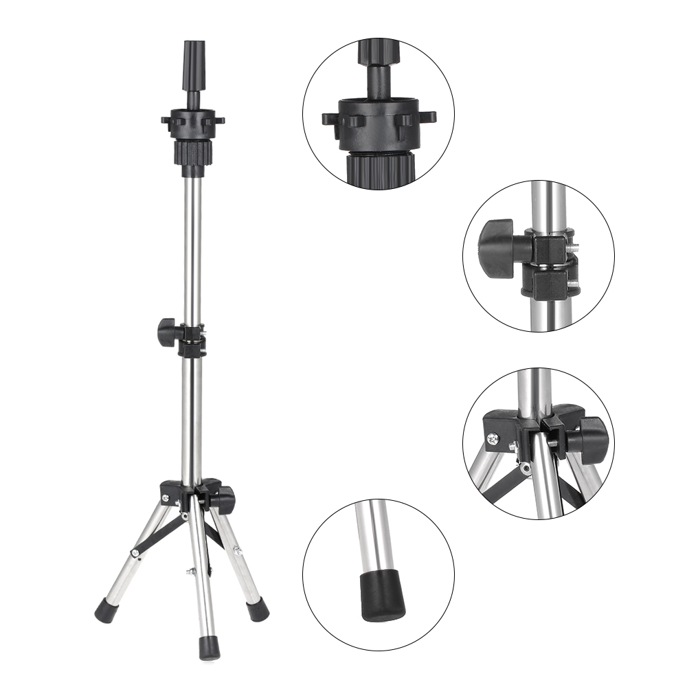Adjustable Tripod Stand Holder for Hair Salon Cosmetology,Stainless Steel Hairdressing Training Head Mold Mannequin Head with Carrying Bag