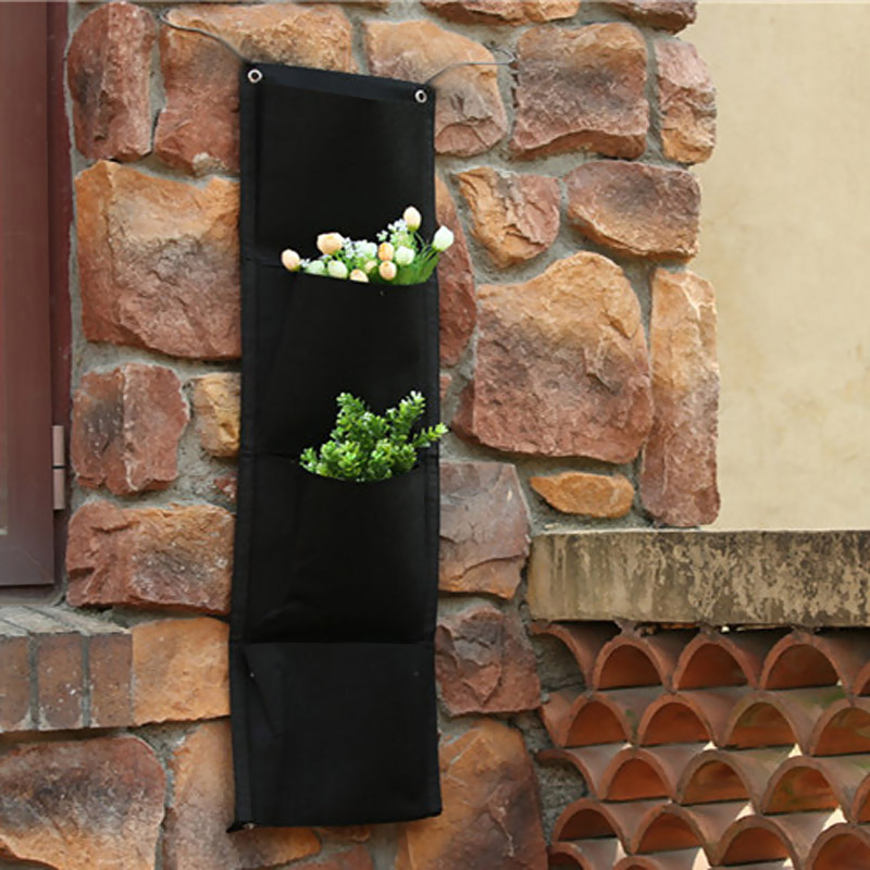 4 Pockets Vertical Bags Wall Planter Wall-mounted Hanging Home Gardening Grow Flower Planting Living Indoor Garden E2sho LXY9