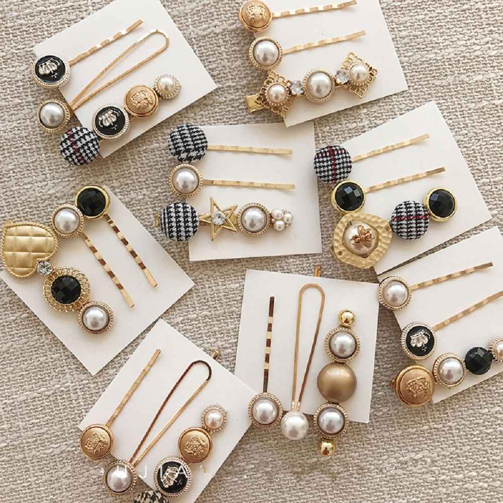 New 3pcs/1Set Korea Vintage Imitiation Pearl Hairpins Fashion Hair Accessories Houndstooth Button Imitiation Pearl Hair Clips