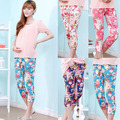 Hot sale  Summer Floral Print Maternity Capris Pants Casual Elastic Maternity Leggings Capri plus size  Slim casual Pregnancy Cl