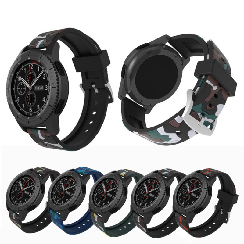 22mm Camoufla Military Soft silicone Band For Samsung Galaxy Gear s3 Frontier Replaceable Bracelet Strap For Samsung S3 classic 18 colors rubber wrist strap for samsung gear s3 frontier silicone watch band for samsung gear s3 classic bracelet band 22mm