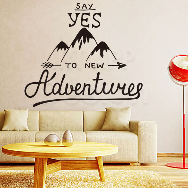 New Design Home Decoration Vinyl New Adventures Words Wall Sticker  Removable Art Character Hills Decals Cheap