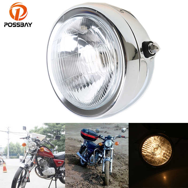 POSSBAY 6.5'' Chrome Motorcycle Headlight Amber Headlamp For Honda Yamaha Suzuki GN 125 Front Light Luces Motorbike Accessories