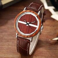 2017 New Arrival Quartz Nature Wood Wrist Watch Elegant Casual Design Leather Band Strap Novel