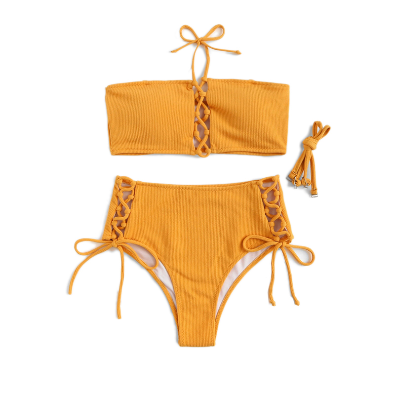 Top With Lace-up Bottoms Bikini Set 16