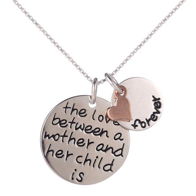 """Стерлингового Серебра """"любви между матерью и ее ребенком навсегда"""" Письмо Сердца Ожерелье"""