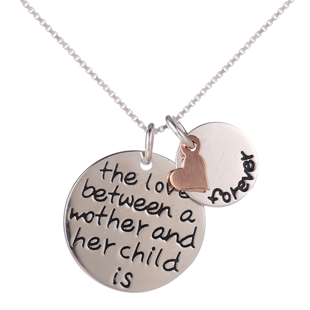 Sterling Silver the love between a mother and her child is forever Letter Heart Pendant Necklace