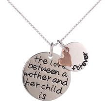 """""""El amor entre una madre y su hijo es siempre"""" Carta Collar Colgante de Corazón"""
