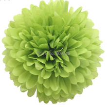 "10pcs 8""(20cm) Decorative Birthday Holiday Party Apple Green Hanging Tissue Paper Pom Poms Craft Flower Ball For Sale"