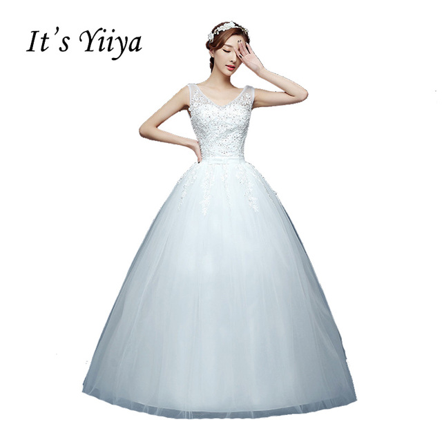 2017 V neck Plus size White Bride Princess Fashion Vestidos De Novia ...