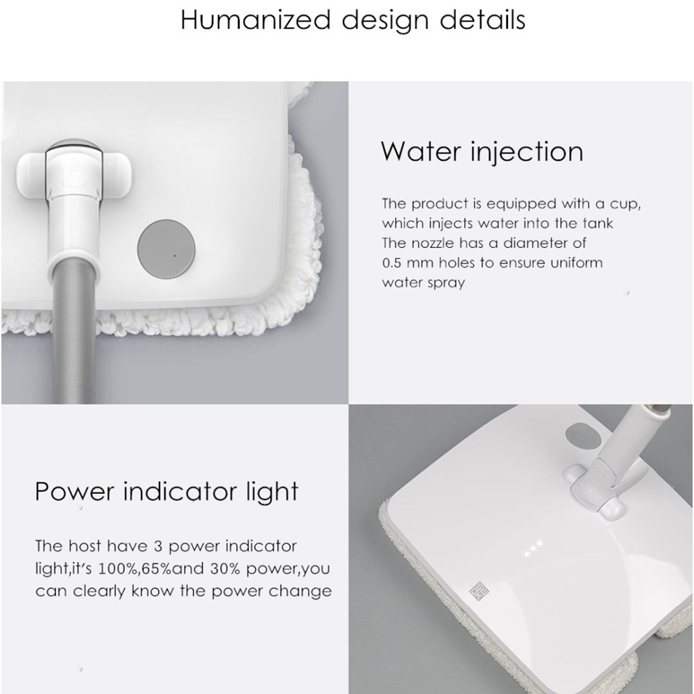 Xiaomi Mijia SWDK-D260 Wireless Handheld Electric Floor Wiper Washers LED Light Built-in 2000mAh Battery with Mops DC 12V