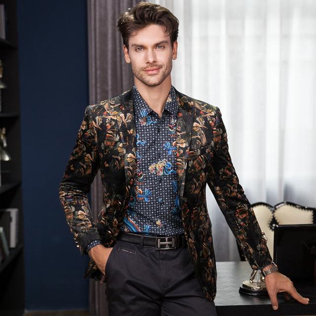 Plus size de Alta Qualidade de Veludo Ouro Impressão Flor Blazer M-3XL 2016 Outono Inverno dos homens Slim Fit Jaqueta Casaco Outerwear Para homens