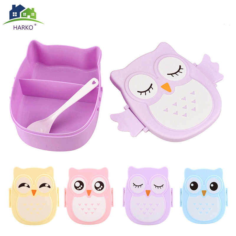 Cute Owl Students Lunch Box With Spoon Kids Bento Box Food Container with compartments Dinnerware Case Storage Box