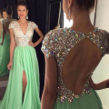Sexy Mint Green Chiffon Prom Dresses Luxury Backless Rhinestone Long Evening Party Dresses 2017 Sexy Beading Cheap Prom Gowns