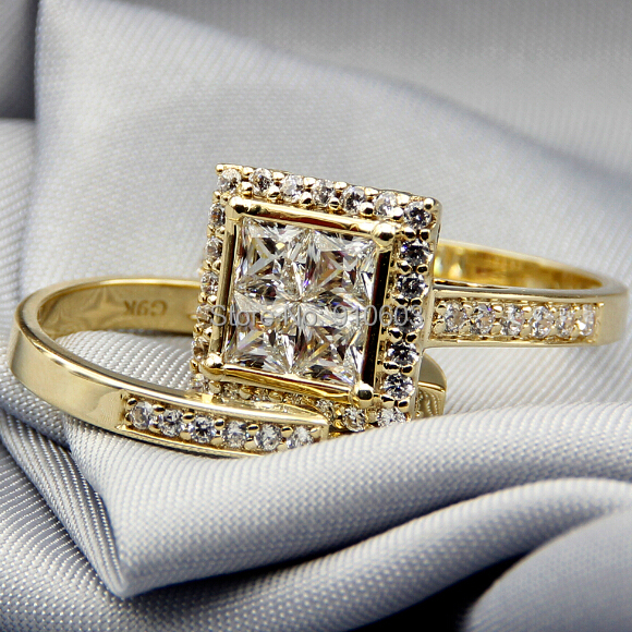 Center Princess Cut Simulated Diamonds Halo Rings Real 9k Yellow