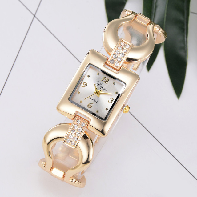 Brand Cheap Stainless Steel Watch Gold Bracelet Watch Fashion Luxury Women Dress