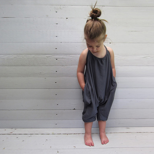 b1bab8f7f140 New Fashion Baby Girls Toddler Kid Child Strappy Loose Jumpsuit Romper  Outfits Tiny Toddler Trousers Cotton romper-in Rompers from Mother   Kids  on ...