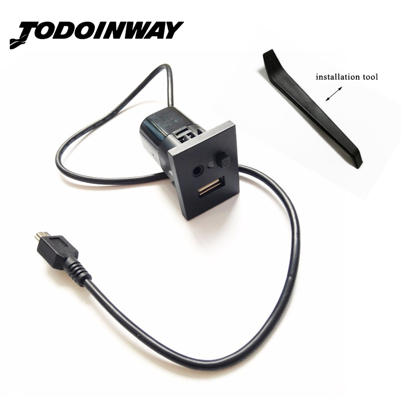 For Ford Focus II MK2 CD Player 2009-2011 Car Accessories Mini USB Cable Adapter USB 2.0 Slot Interface Plug Button