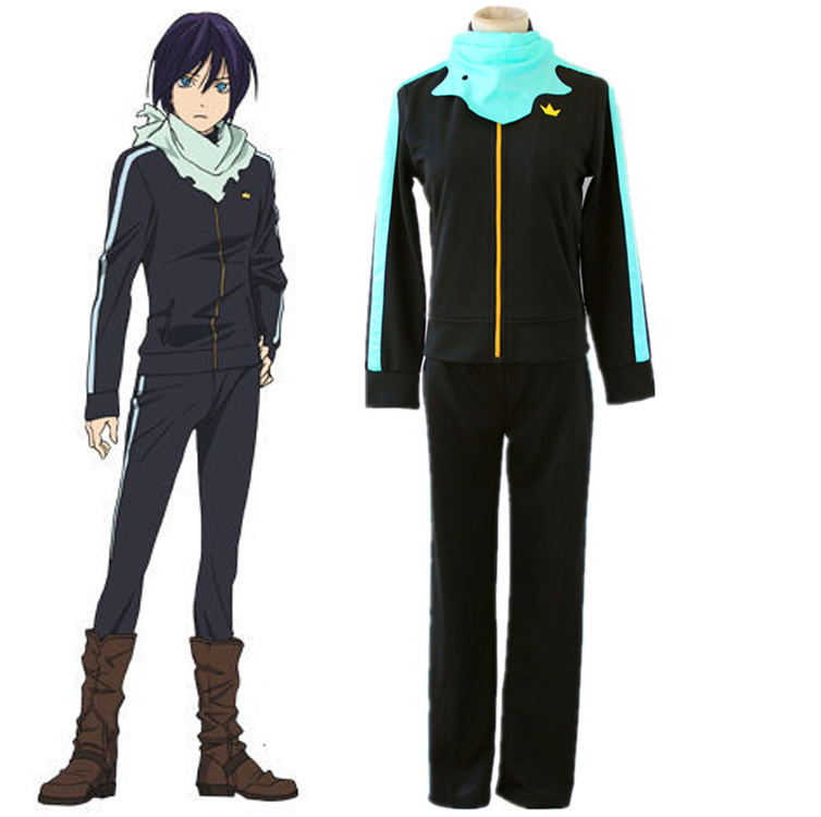 Anime Noragami Yato Cosplay Costume Full Set Sportswear ( Jacket + Pants + Scarf ) Daily Casual Costumes Size S-XXL