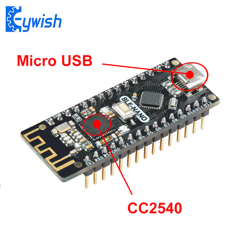 Keywish BLE-Nano For Arduino Nano V3.0 Mirco USB Board Integrate CC2540 BLE Wireless Module ATmega328P Micro-Controller Board